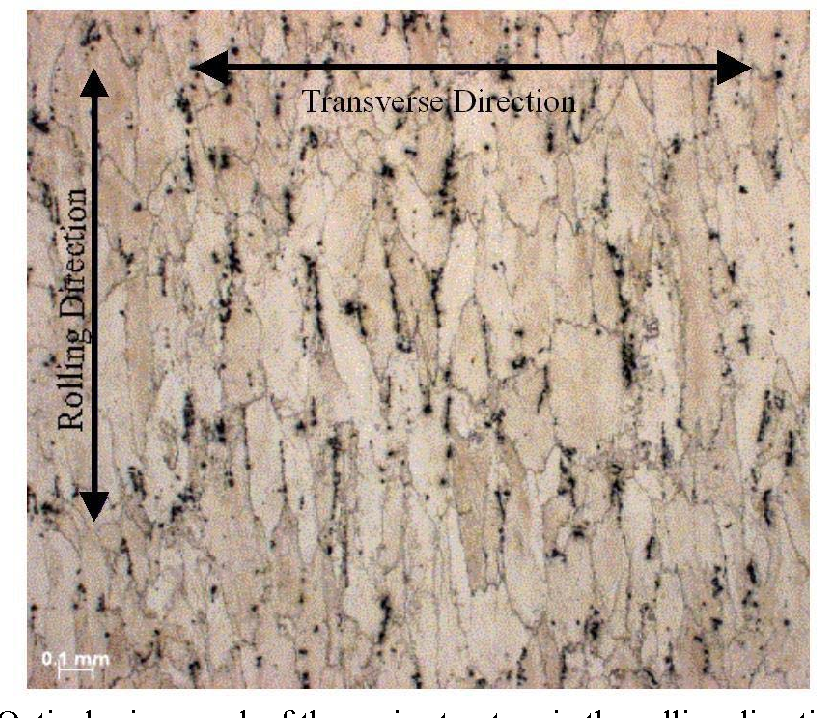 Figure 3.1. Optical micrograph of the grain structure in the rolling direction of 7075- T651 aluminum alloy.