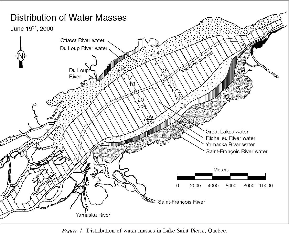 Figure 1. Distribution of water masses in Lake Saint-Pierre, Quebec.