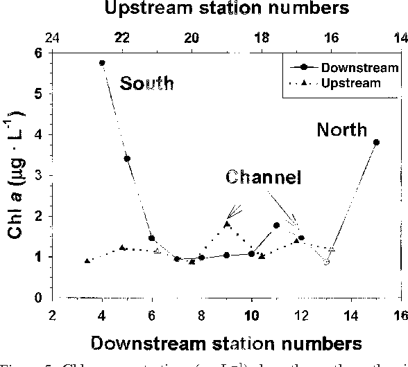 Figure 5. Chl a concentrations ( g·L−1) along the north-south axis at both the upstream (stations 16 to 23) and downstream (stations 5 to 15) transects.