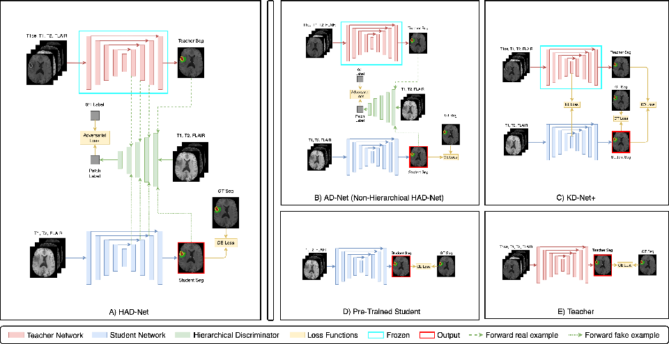 Figure 1 for HAD-Net: A Hierarchical Adversarial Knowledge Distillation Network for Improved Enhanced Tumour Segmentation Without Post-Contrast Images