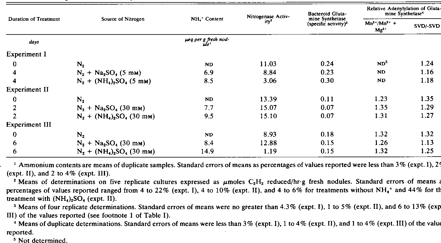Table II. Effect of (NH,)2504 Treatment of Soybean Plants on Nitrogenase Activity of Nodules and on Activity and Adenylylation of Bacteroid Glutamine Synthetase