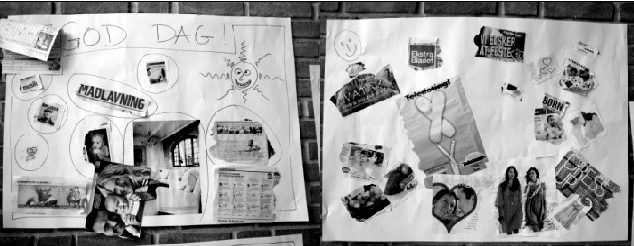 Fig. 1. Collages made by inmates and officers in seperate groups to describe the good and the bad in everyday life