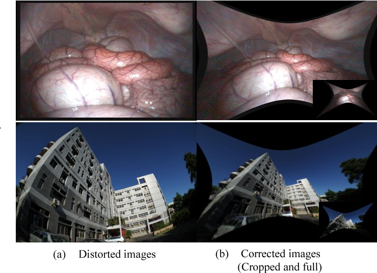 Real-time correction of wide-angle lens distortion for images with