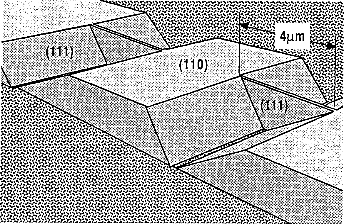 Figure C.5: Schematic illustration of triangular walls, or membranes, that can be formed by utilizing the nonperendicular (111) planes as etch barriers.