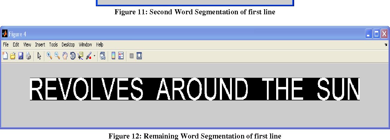 Figure 11: Second Word Segmentation of first line