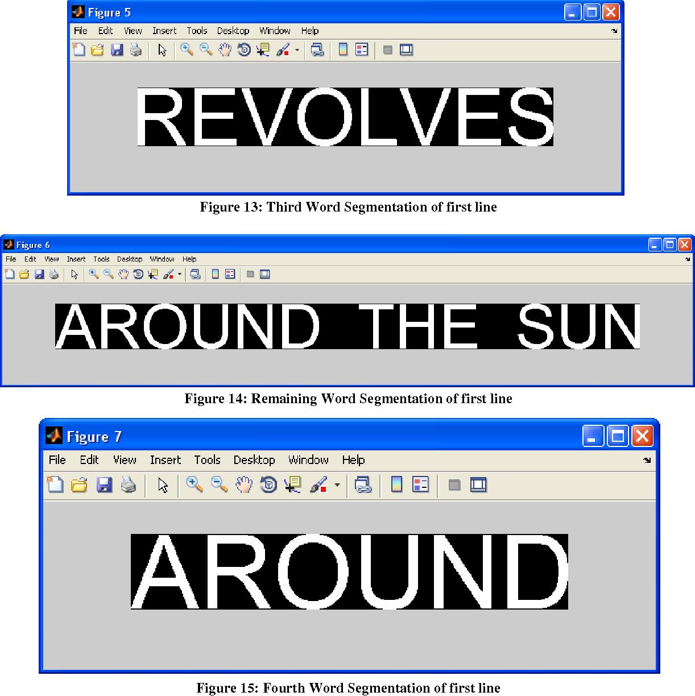 Figure 14: Remaining Word Segmentation of first line