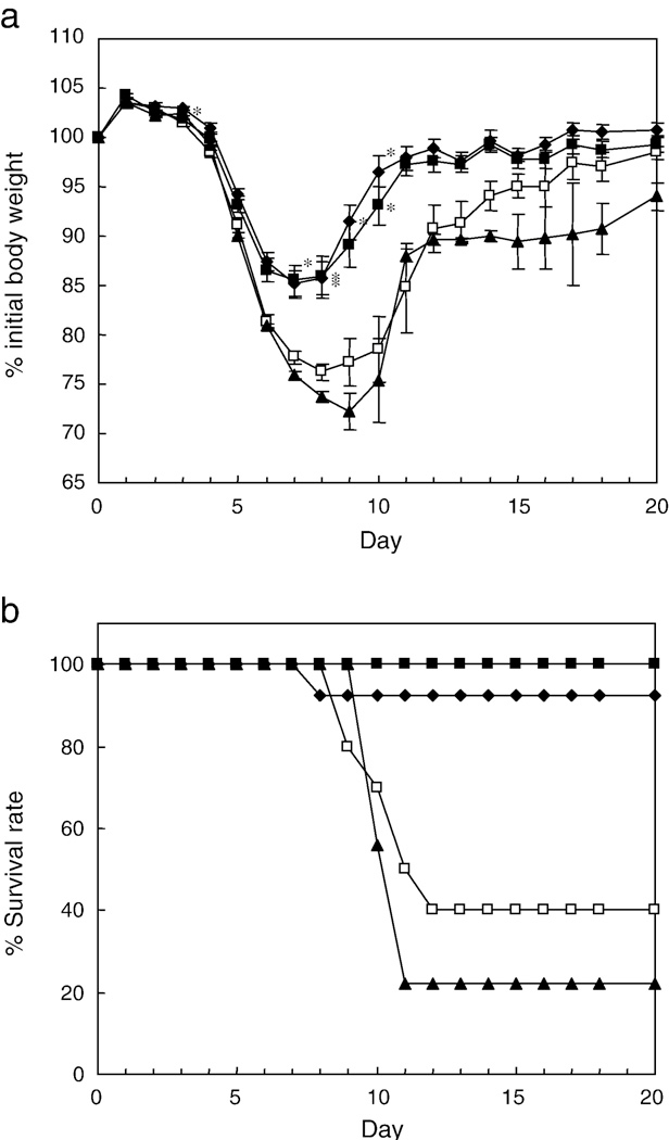 Fig. 2. ACT protects against development of DSS-induced colitis. (a) Weight change and (b) survival rate in mice pretreated with ACT orally for 14 days before DSS administration. (a) % initial body weight (b) Survival was monitored for 20 days after initiation of DSS administration. □, Mice treated with DSS only; ■, mice given 1% ACT before DSS treatment; ♦, mice given 0.3% ACT before DSS treatment; ▲, mice given 0.1% ACT before DSS treatment. Data are presented as means±SEM (n=9–13). ⁎, Pb0.01 versus value for DSS-treated control mice.