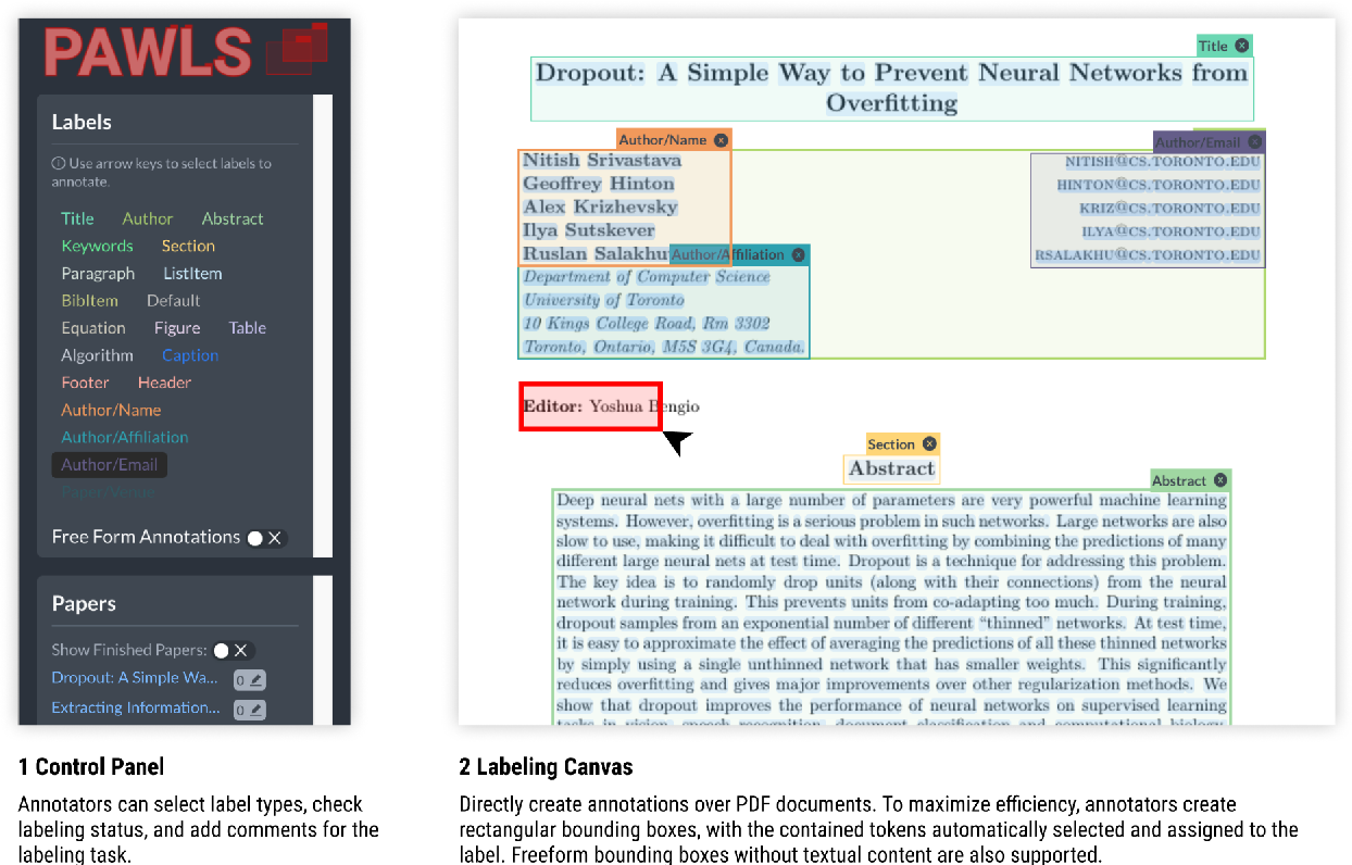 Figure 1 for PAWLS: PDF Annotation With Labels and Structure