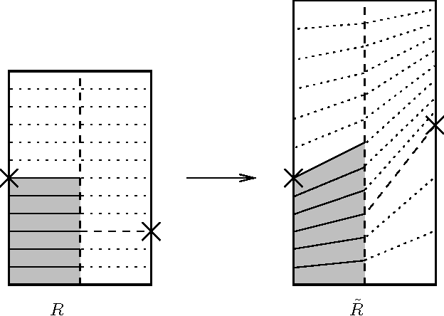 Figure 1. The restriction of Masur's quasi-conformal map to one rectangle