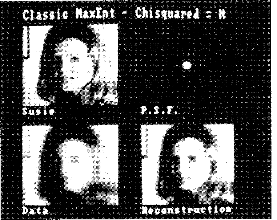 Figure 1. 128 x 128 image of Susie, blurred with a 6-pixel Gaussian PSF. MaxEnt reconstruction using χ2 = N.