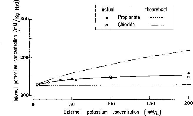 Fig. 8. The effect on internal potassium concentration of isosmotic variation of external potassium concentration. Symbols as in Fig. 7