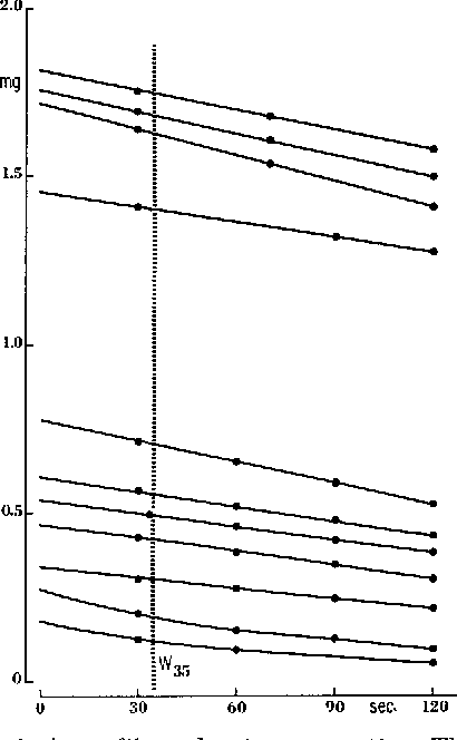 Fig. 3. Weight change in large fibers due to evaporation. The two lowest curves are for fibers within the weight range of those in Fig. 2