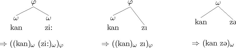 Figure 4.5: Prosodic grouping of 3SgFem pronouns (Hall 1999).