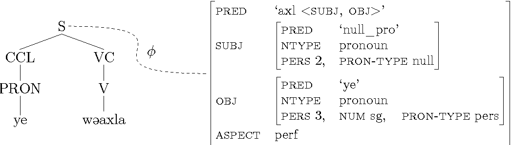 Figure 6.10: C- and f-structure representation of wα ye xla 'Buy it'.