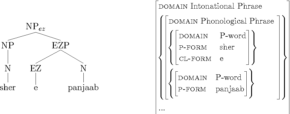 Figure 3.1: C- and p-structure representation of sher e panjaab 'the lion of Punjab'.