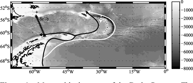 Figure 1. Map and bathymetry of the Drake Passage. The position of the SR1b hydrographic repeat section is shown (black cross). The simplified circulation of light WSDW overflowing the South Scotia Ridge (black arrows) and of dense WSDW circumnavigating the South Sandwich Islands (white arrows) is adapted from Naveira Garabato et al. [2002b].