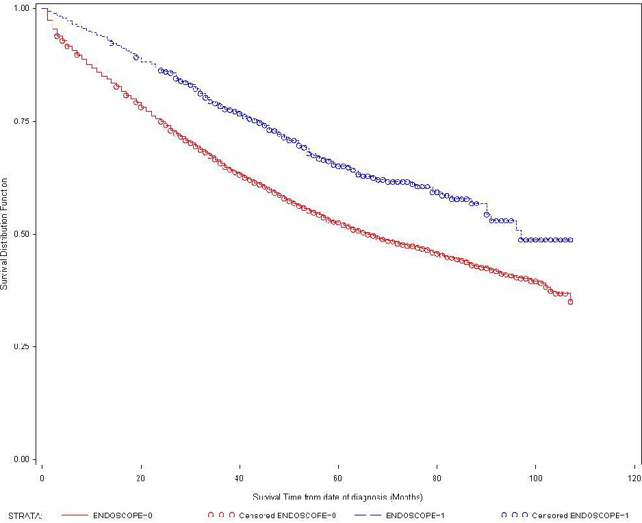 Figure 3 – Rectal cancer survival time among group I and group II