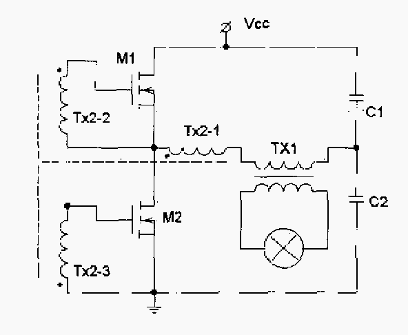 simplified schematic of a non-dimming conventional electronic transformer  for halogen
