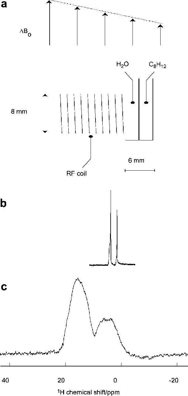 FIG. 4. (a) Sample setup with two tubes containing water and cyclohexane. (b) Homogeneous NMR spectrum obtained after one single pulse of length 14 µs. (c) Inhomogeneously broadened one-pulse spectrum in the presence of a constant gradient of 0.18 mT/cm.