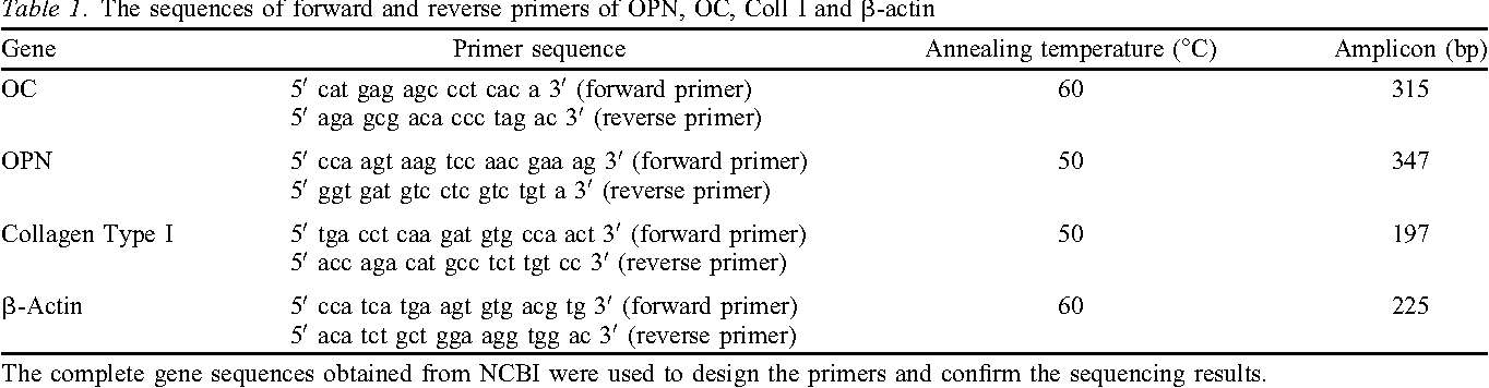 Table 1. The sequences of forward and reverse