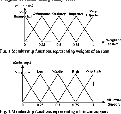 Fig. 1 Membership functions representing weights of an item