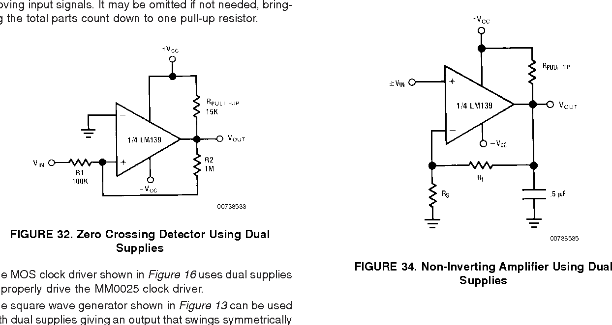 Application Note 74 Lm139 Lm239 Lm339 A Quad Of Independently The Circuit Schematic For Voltage Comparator Figure 34 Non Inverting Amplifier Using Dual Supplies