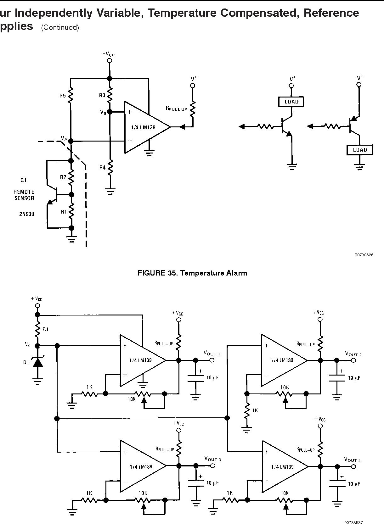 Application Note 74 Lm139 Lm239 Lm339 A Quad Of Independently The Circuit Schematic For Voltage Comparator Figure 35 Temperature Alarm