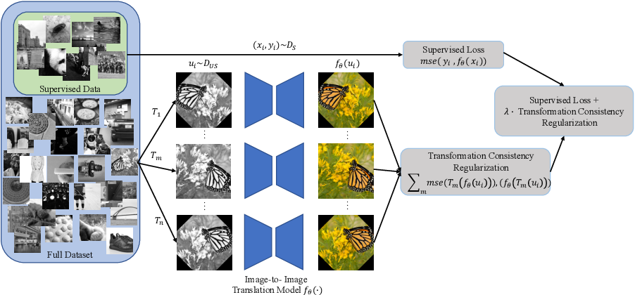 Figure 1 for Transformation Consistency Regularization- A Semi-Supervised Paradigm for Image-to-Image Translation