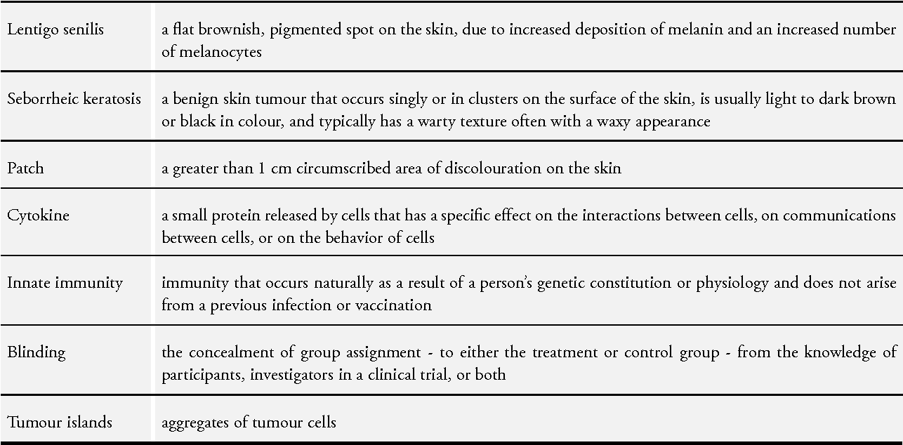 Table 1 from Interventions for melanoma in situ, including