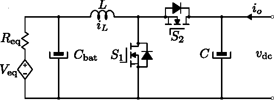 Fig. 9. Equivalent bidirectional dc-dc power converter circuit in battery charging mode.