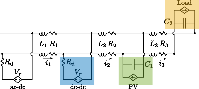 Fig. 10. Microgrid equivalent (reduced) model (cf. Fig. 1).