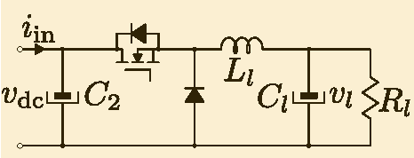 Fig. 13. Dc-dc buck power converter performing as a load and modeled as a CPL for the common bus.