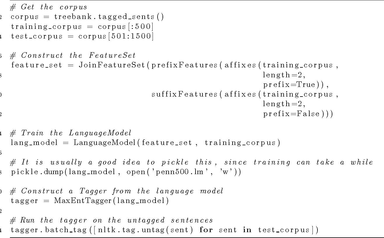 PDF] Maximum Entropy Part-of-Speech Tagging in NLTK - Semantic Scholar