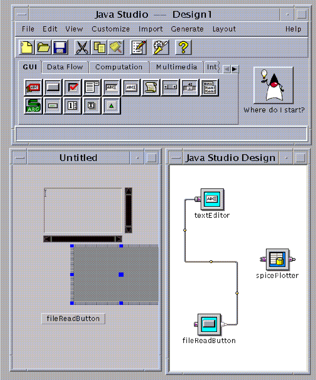 Figure 4: Use of JavaStudio Bean Development Environment in JSPICE client.