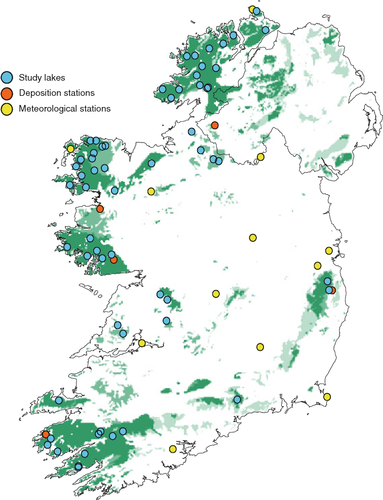 Map Of Ireland Lakes.Changes In The Chemistry Of Small Irish Lakes Semantic Scholar