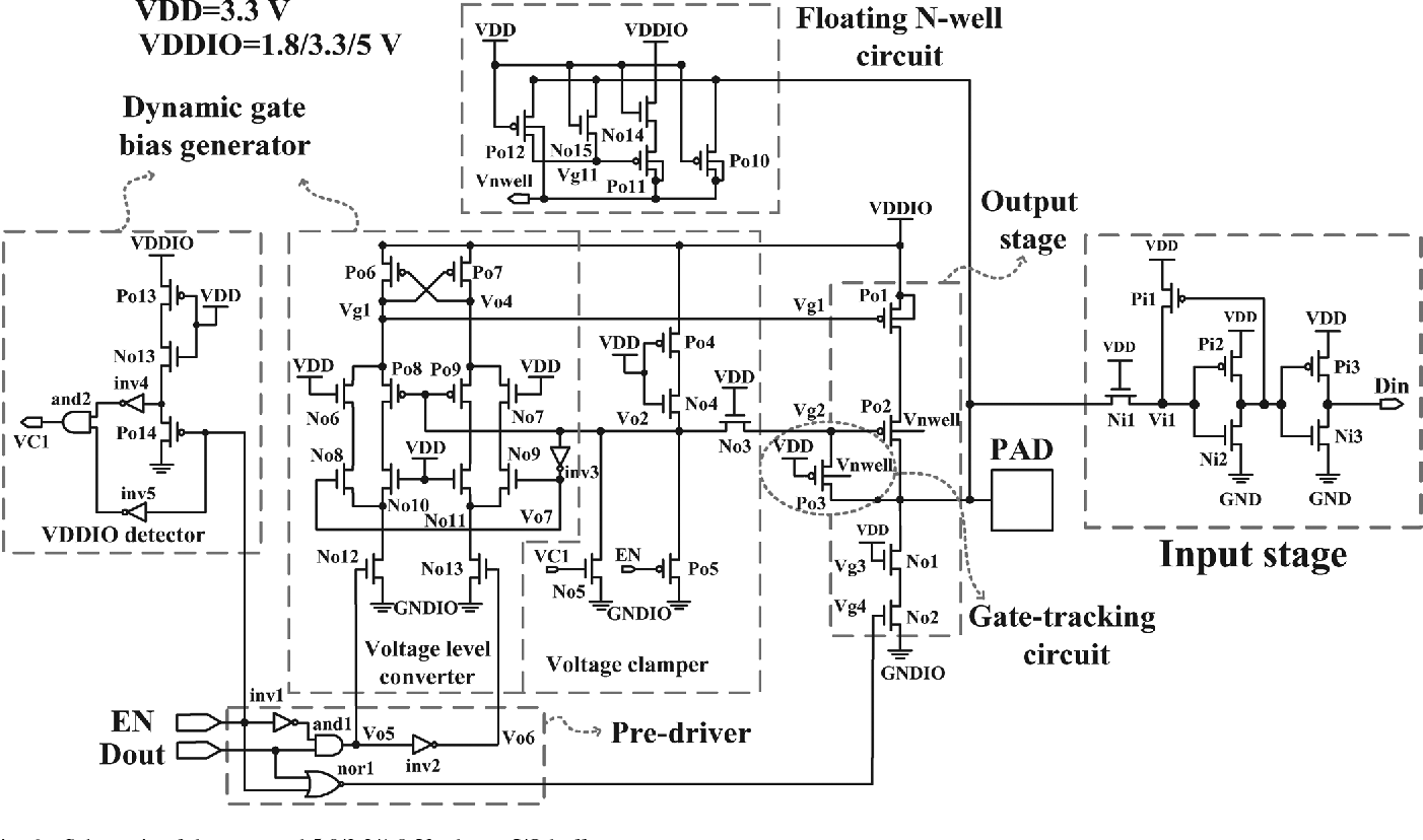 Figure 6 From Wide Range 50 33 18 V I O Buffer Using 035 M Circuit Schematic Diagram Of The Proposed Tolerant