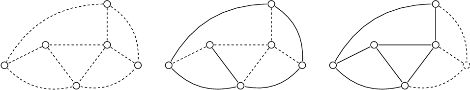 Figure 1: An example of a time-varying graph modelling a public transportation graph drawn for three points in time; night time (left), the early morning (middle) and mid-day (right).