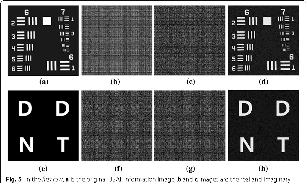 Fig. 5 In the first row, a is the original USAF information image, b and c images are the real and imaginary parts of the encoded USAF information data by the Fresnelet. The d is the extracted information image from the information embedded Lena image. In the second row, e, f, g, and h show the corresponding result of the first row: a–d with DDNT information image from the information embedded Lena image, respectively
