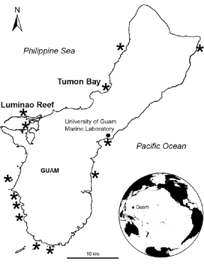 figure 1 from porpostoma guamensis n sp a philasterine Chamorro People Guam map of guam showing 13 sites surveyed for disease to establish baseline
