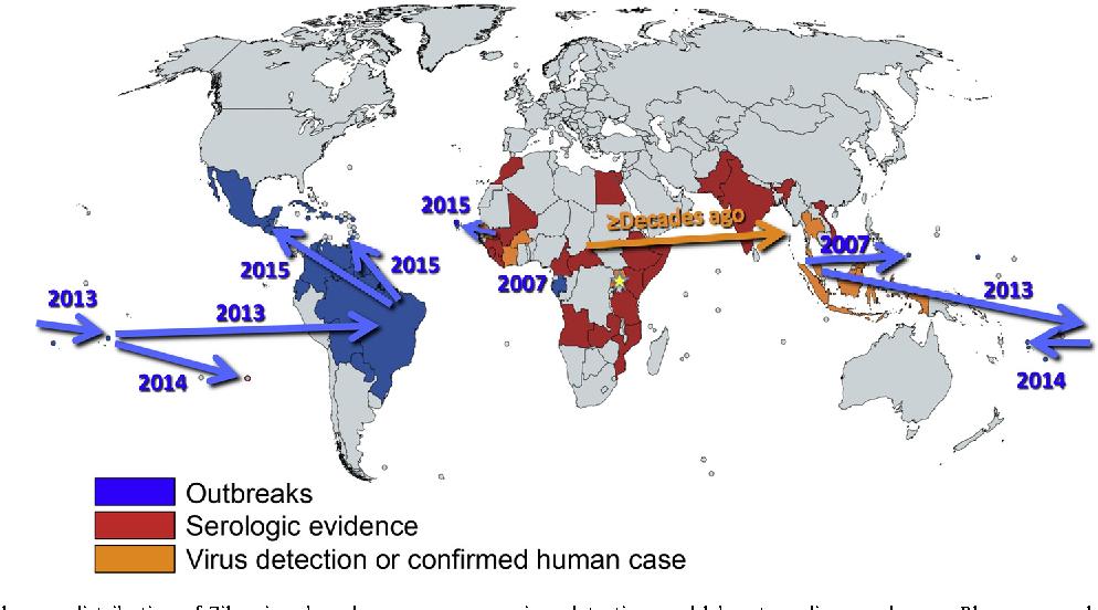 Figure 1 from Zika virus: History, emergence, biology, and prospects on west nile virus map, yellow fever map, japanese encephalitis map, powassan virus map,