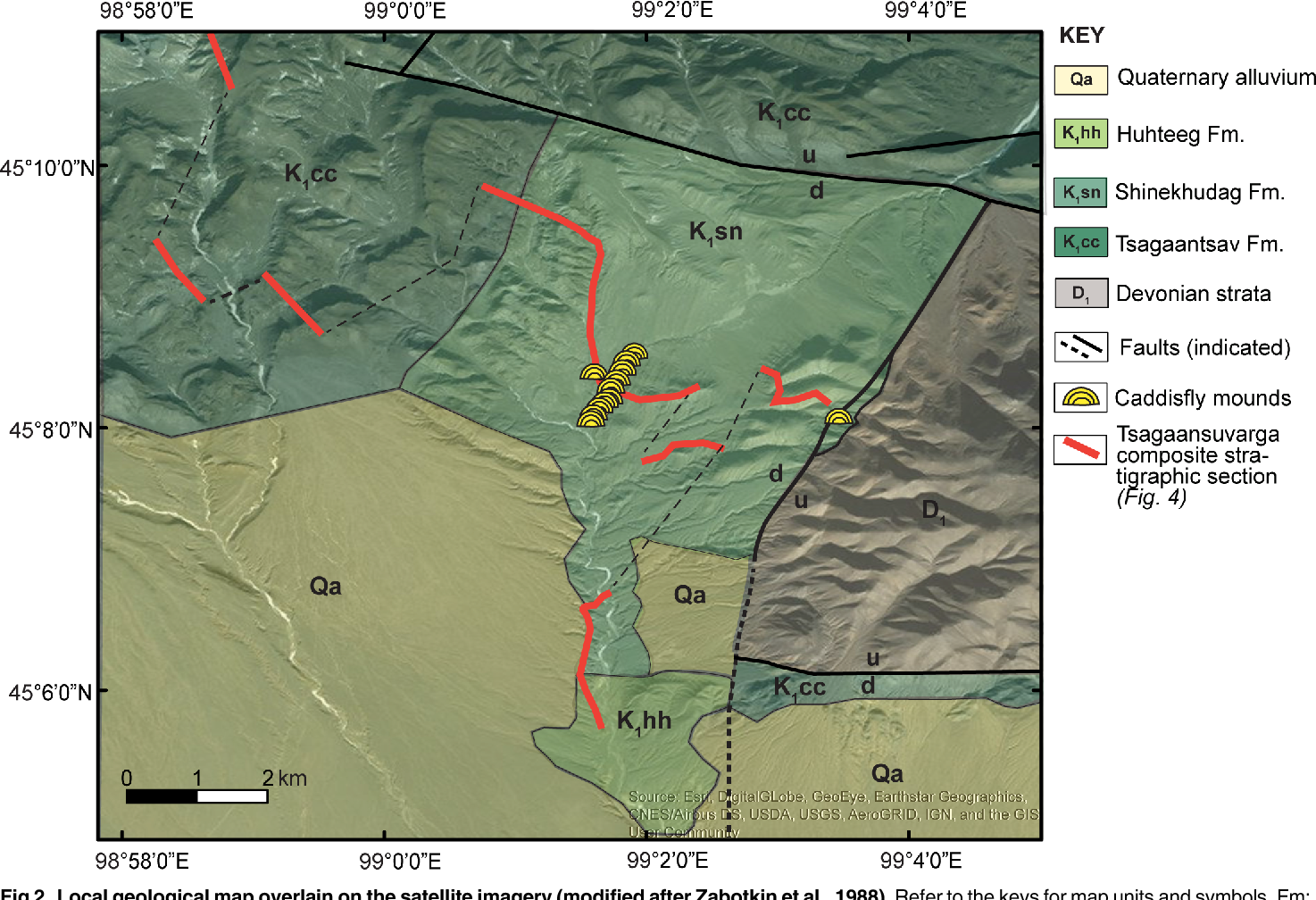 Fig 2. Local geological map overlain on the satellite imagery (modified after Zabotkin et al., 1988). Refer to the keys for map units and symbols. Fm: formation.
