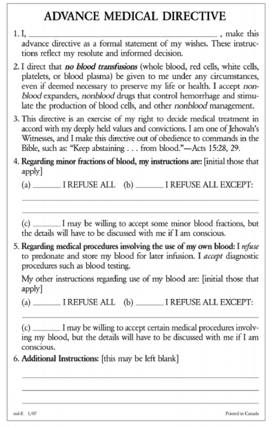 PDF] Issues regarding blood transfusion between Jehovah's Witnesses