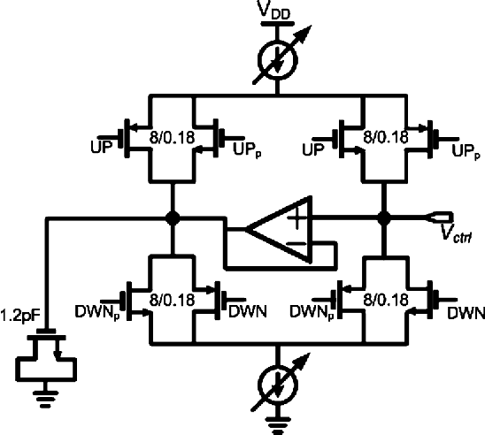 Fig. 8. Simplified schematic of the charge pump.