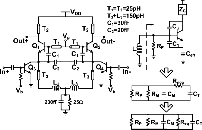 Fig. 11. Schematic and simplified small-signal equivalent circuit of ILFT.