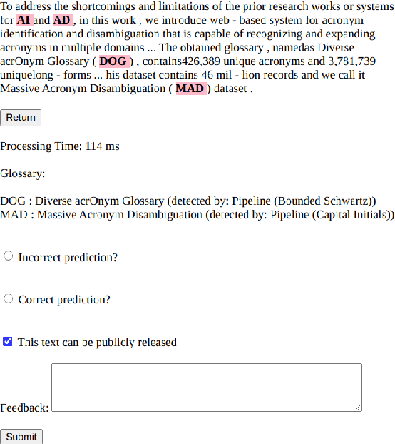 Figure 2 for MadDog: A Web-based System for Acronym Identification and Disambiguation