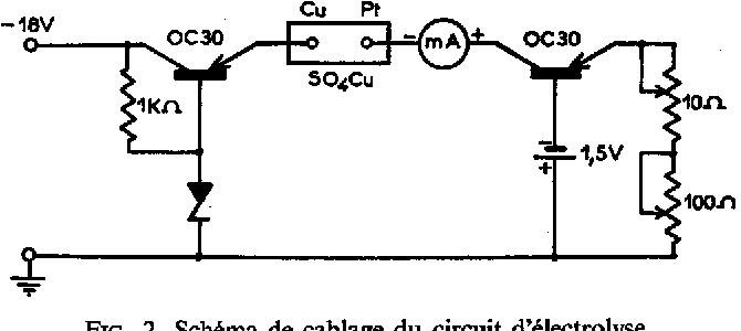 FIG. 2. Sch6ma de cablage du circuit d'61ectrolyse.