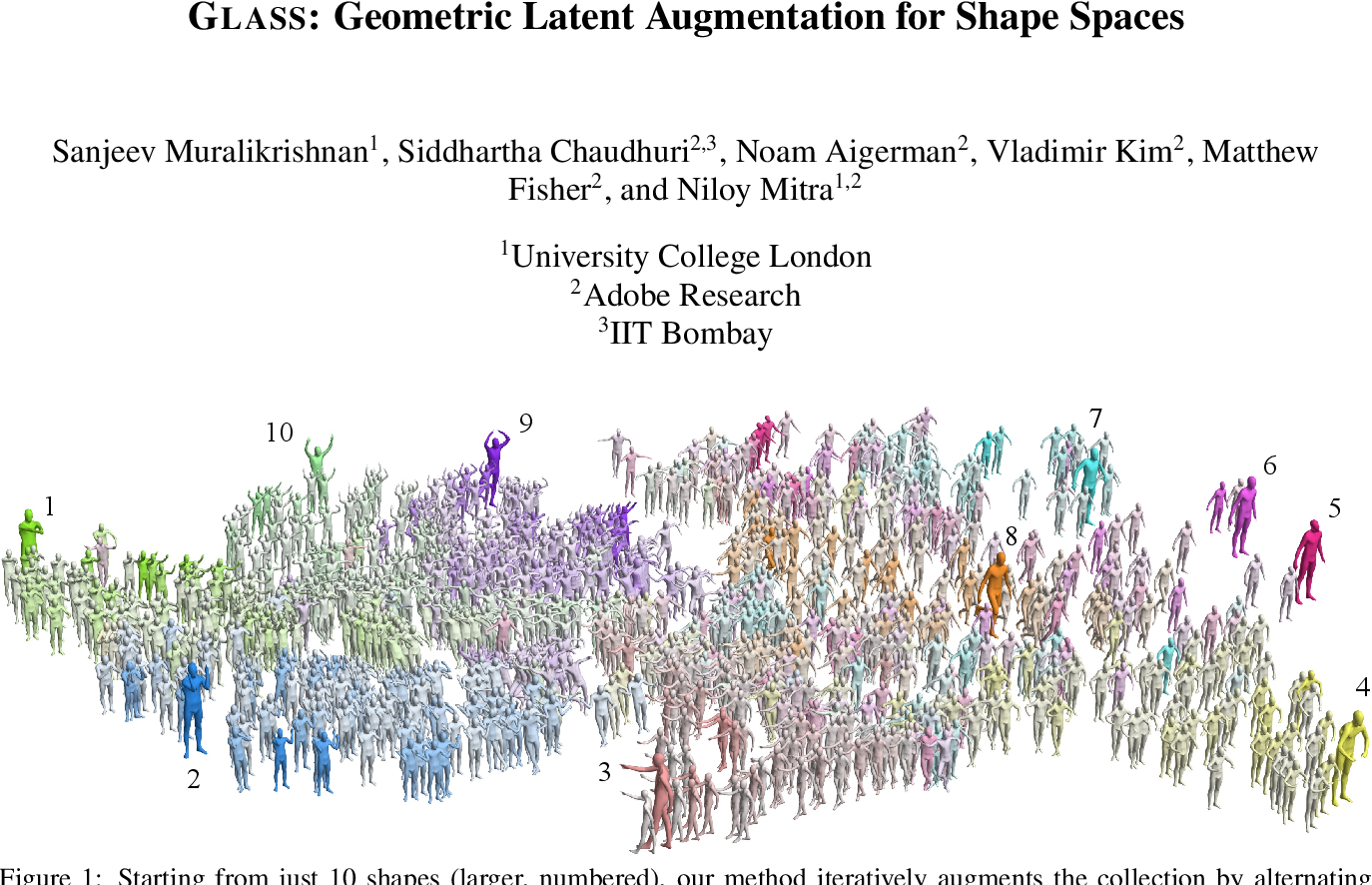 Figure 1 for GLASS: Geometric Latent Augmentation for Shape Spaces