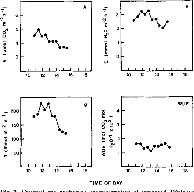 Fig. 2. Diurnal gas exchange characteristics of irrigated Diptacus aurantiacus leaf in SO2-free air. Gas exchange cuvette conditions and symbols as in Fig. 1