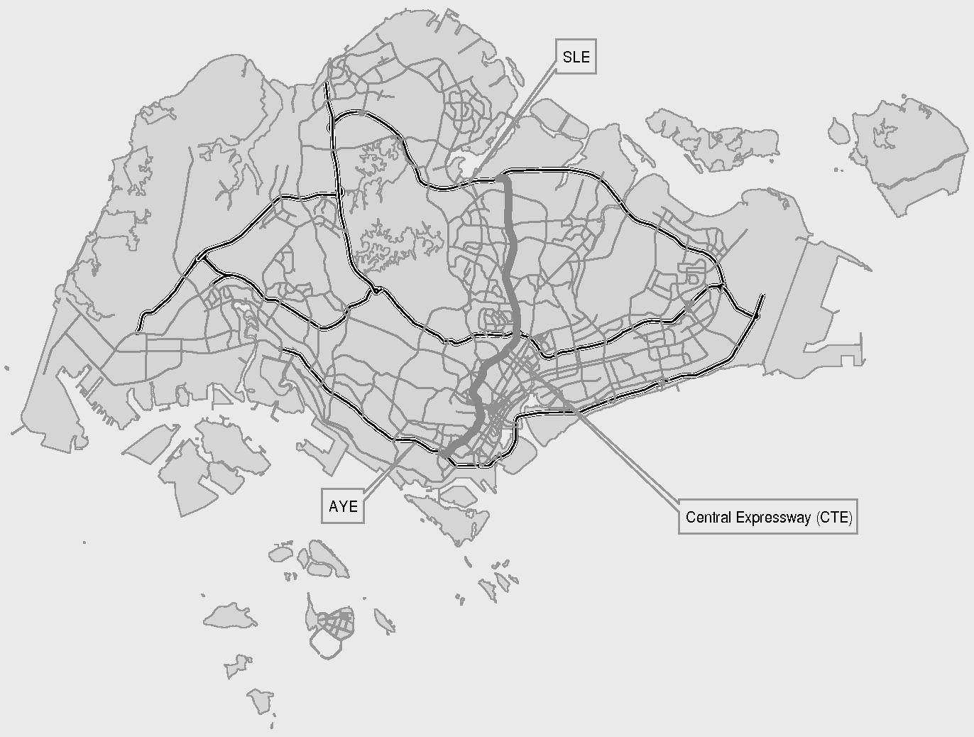 FIGURE 3 Overview of Singapore road network (SLE = Seletar Expressway; AYE = Ayer Rajah Expressway).