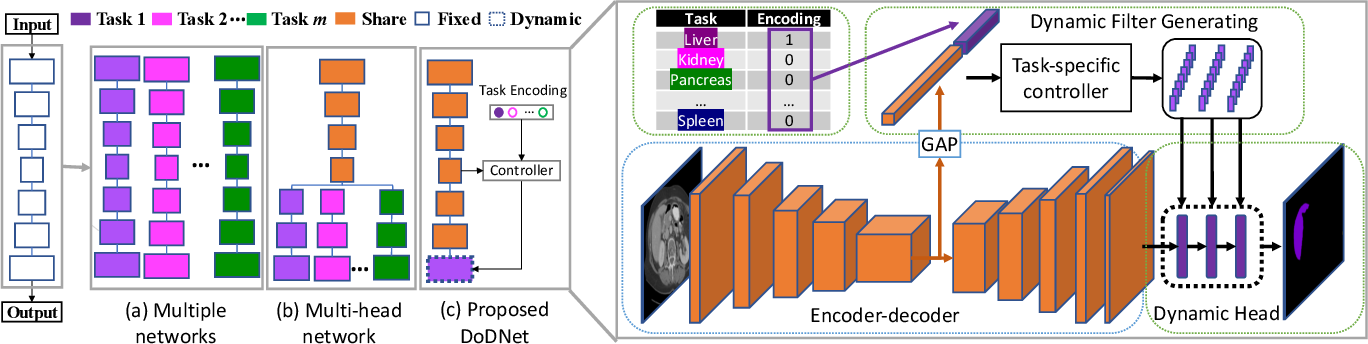 Figure 3 for DoDNet: Learning to segment multi-organ and tumors from multiple partially labeled datasets